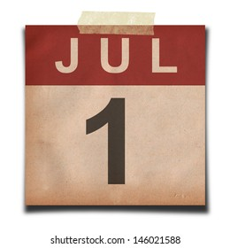 Grunge calendar for July on white background