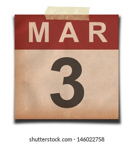 Grunge calendar for March on white background