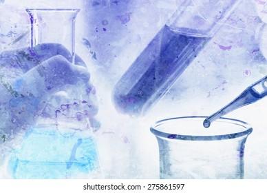 grunge chemical test at science lab , vintage color background