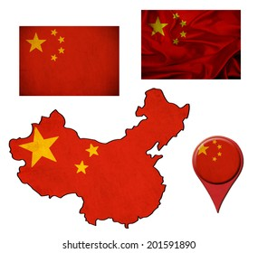 grunge China flag, map and map pointers