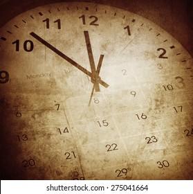 Grunge clock face and calendar