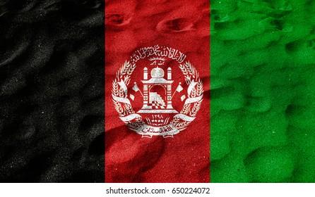 Grunge color background, flag of Afghanistan. Close-up, fluttering downwind