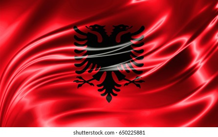Grunge color background, flag of Albania. Close-up, fluttering downwind