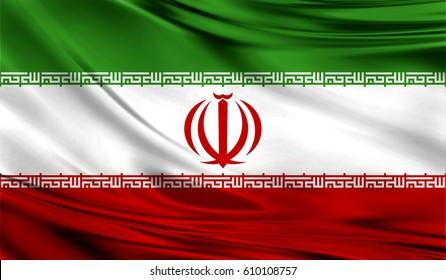 Grunge color background, flag of Iran. Close-up, fluttering downwind
