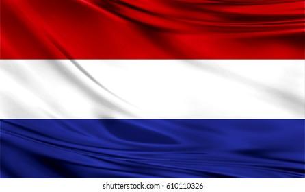 Grunge color background,Flag of the netherlands. Close up, fluttering downwind