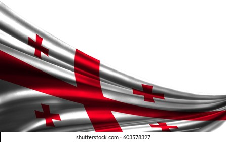 Grunge colorfu flag Georgia fabric silks with copyspace for your text or images, white background 3D illustration  cloths. Closeup, fluttering downwind