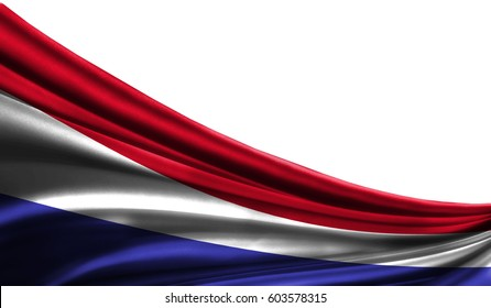 Grunge colorfu flag Holland fabric silks with copyspace for your text or images, white background 3D illustration  cloths. Closeup, fluttering downwind