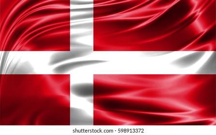 Grunge colorful background, flag of Denmark. Close-up, fluttering downwind