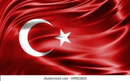 Grunge colorful background, flag of Turkey. Close-up, fluttering downwind