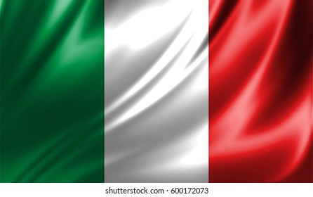 Grunge colorful background,Flag of italy. Close up, fluttering downwind