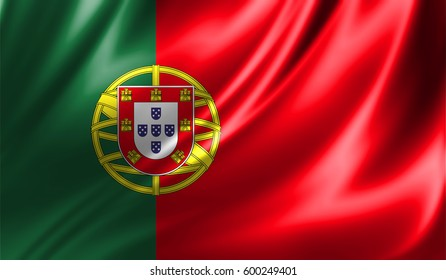 Grunge colorful background,Flag of portugal. Close up, fluttering downwind