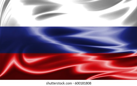 Grunge colorful background,Flag of Russia. Close up, fluttering downwind