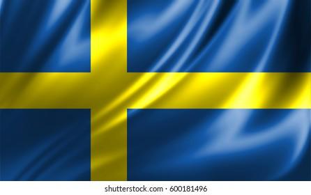 Grunge colorful background,Flag of sweden. Close up, fluttering downwind