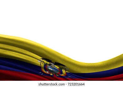 Grunge colorful flag Ecuador with copyspace for your text or images,isolated on white background. Close up, fluttering downwind.