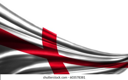 Grunge colorful flag England of fabric silks with copyspace for your text or images, white background 3D illustration  cloths. Closeup, fluttering downwind