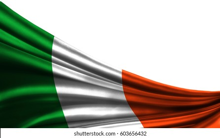 Grunge colorful flag Ireland fabric silks with copyspace for your text or images, white background 3D illustration  cloths. Closeup, fluttering downwind