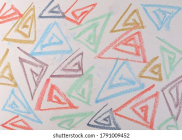 Grunge colorful spiral triangles, chalk drawing, scribble on white background and texture, pattern