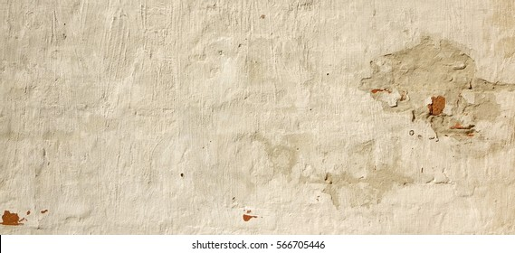 Grunge Concrete Plaster Cement Cracked Flaked Shabby Wall Background. White Brick Wall Stucco Texture. Abstract Gray White Architecture Horizontal Empty Wallpaper. Abstract Surface For Web Banner.