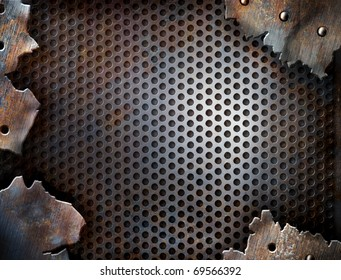 grunge crack metal background with rivets