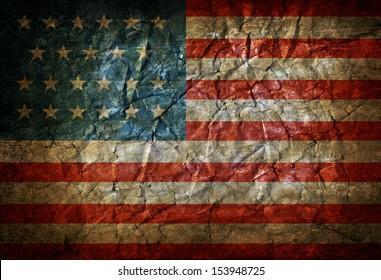 Grunge crumpled USA flag
