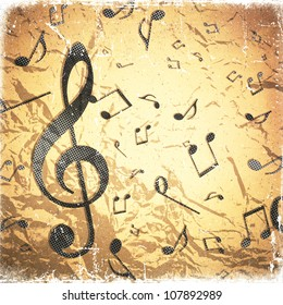 grunge crushed paper texture,  abstract music background