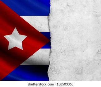 Grunge Cuba flag with paper frame