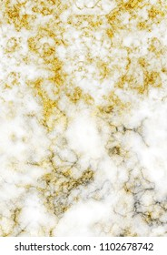 Grunge detailed white marble with gold glitters texture as abstract background.