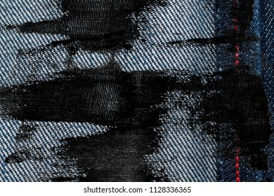 Grunge dirty Denim texture with red seam for jeans background.