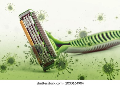 grunge dirty shaving razer blade with rusty virus germ and bacteria decoration effect.