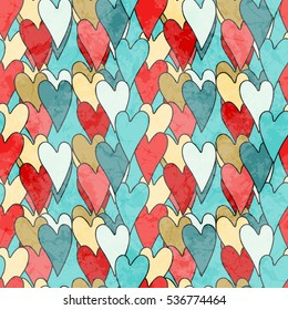 Grunge Dirty Valentine's Seamless Pattern With Hearts