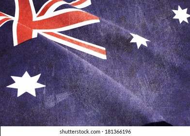 Grunge distressed aged old Australian flag for Australia Day, Anzac Day, 70th anniversary WWII, or 100th anniversary Gallipoli and start of WWI events.