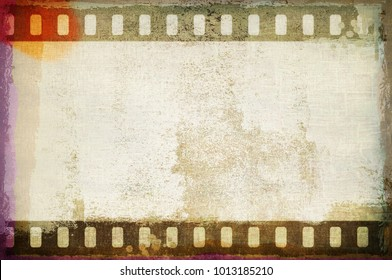 Grunge dripping film strip frame in sepia tones on damaged concrete wall