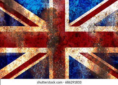 Grunge England flag on rusty metal background texture