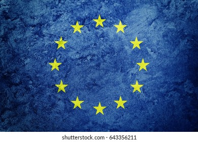 Grunge Europe Union flag. EU flag with grunge texture.