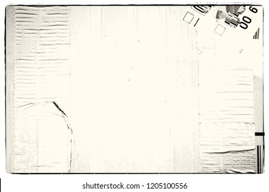 Grunge and faded  black and white paper texture or background with borders.