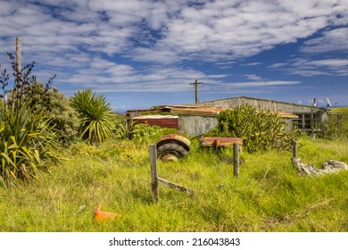 Grunge farmyard on green Countryside in New Zealand
