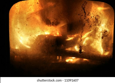grunge fire background behind old glass