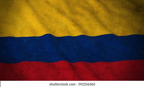 Grunge Flag of Colombia - Dirty Colombian Flag 3D Illustration