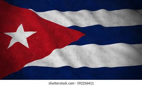 Grunge Flag of Cuba - Dirty Cuban Flag 3D Illustration