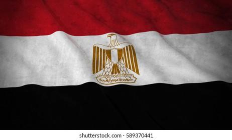 Grunge Flag of Egypt - Dirty Egyptian Flag 3D Illustration