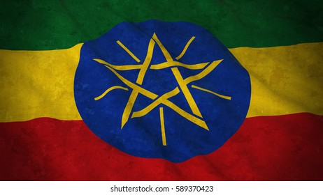 Grunge Flag of Ethiopia - Dirty Ethiopian Flag 3D Illustration