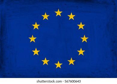 Grunge flag of Europe.