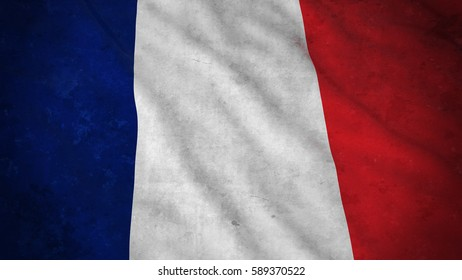 Grunge Flag of France - Dirty French Flag 3D Illustration