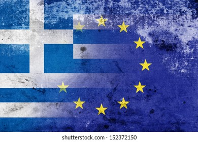 Grunge Flag of Greece and European Union. The economic crisis in Greece