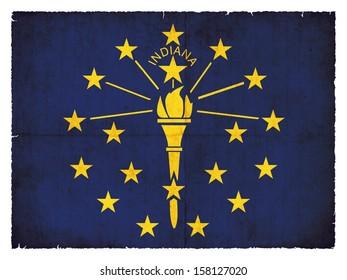 Grunge flag of Indiana (USA)