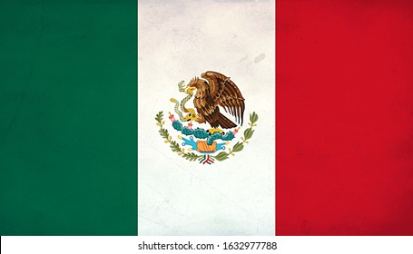 Grunge Flag of Mexico, Mexico flag pattern on the concrete wall, flag of Mexico banner on scratched vintage texture, retro effect , Background for design in country flag