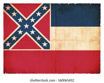 Grunge flag of Mississippi (USA)