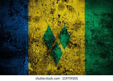 grunge flag of Saint Vincent and the Grenadines with capital in Kingstown