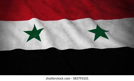 Grunge Flag of Syria - Dirty Syrian Flag 3D Illustration