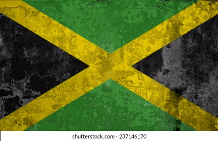 Grunge Flags of the World with textured vintage effect: Jamaica Country